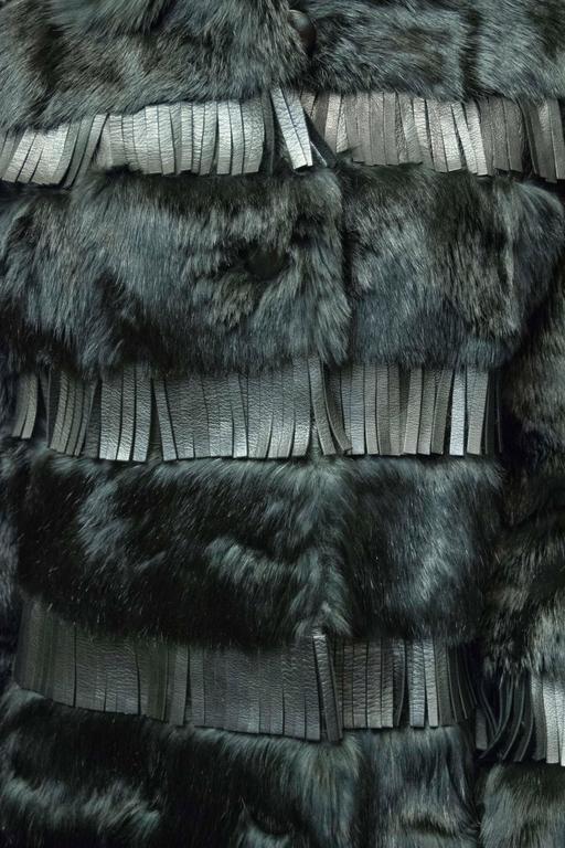 1970s Lilli Ann Paris Fringed and Rabbit Fur Coat 2