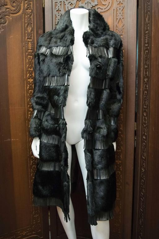 1970s Lilli Ann Paris Fringed and Rabbit Fur Coat 5