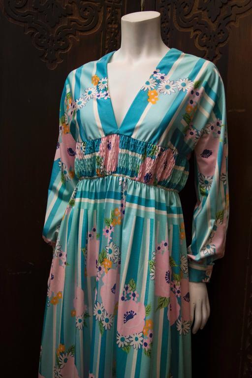 1970s Oscar De La Renta Floral Day Dress  B 35 W 28 H 44 L 53