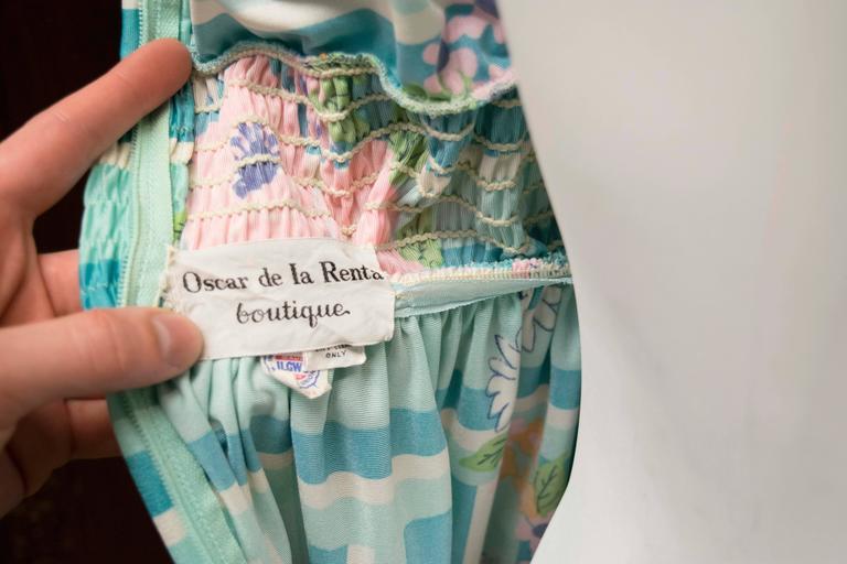 1970s Oscar De La Renta Floral Day Dress For Sale 3