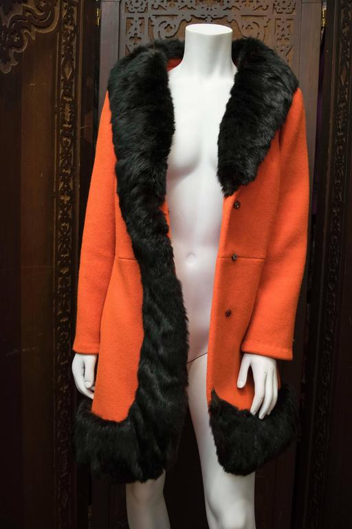 1960s Lilli Ann Red Rabbit Trimmed Coat  For Sale 2
