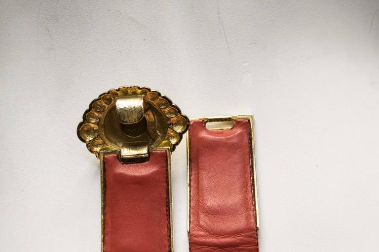 1980's Judith Leiber Red Lizard Skin Belt w/ Gold Tone Buckle For Sale 2