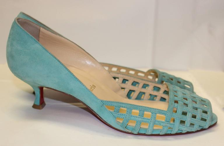 1990's Christian Louboutin Paris suede kitten heels. Sewn birdcage-design upper with peep toe. Made in Italy. Size 39.5. 