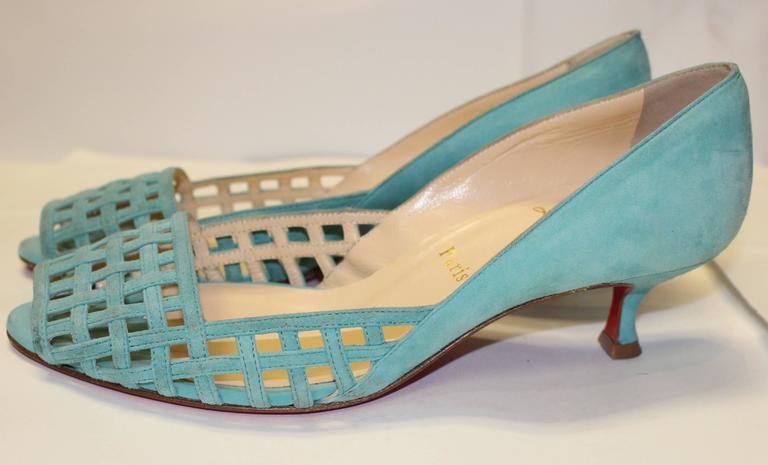 Gray Christian Louboutin Seafoam Green Birdcage Kitten Heel For Sale