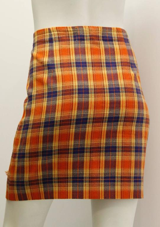 1980s Missoni Orange and Blue Plaid Pleated Wrap Skirt  2