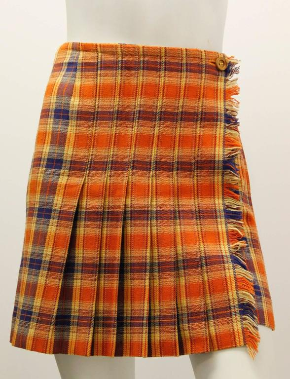 Brown 1980s Missoni Orange and Blue Plaid Pleated Wrap Skirt  For Sale