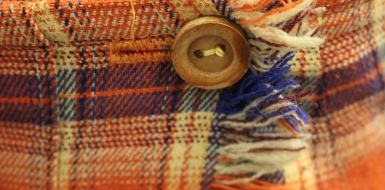 1980s Missoni Orange and Blue Plaid Pleated Wrap Skirt  4