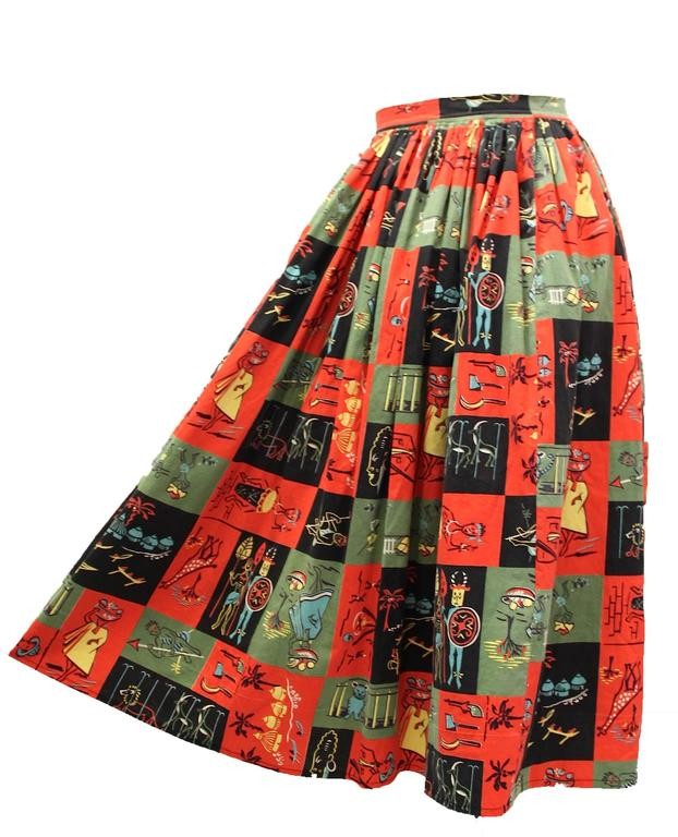 Brown 1950s Jungle Print Circle Skirt  For Sale