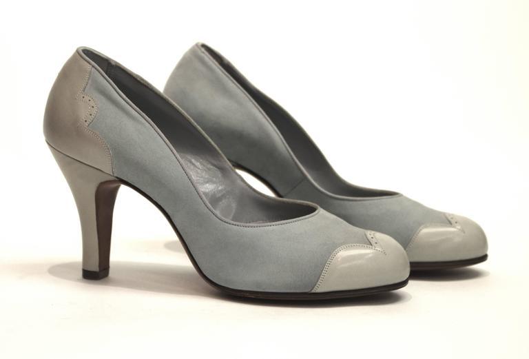 1950s Blue Suede Spectator Heels  2