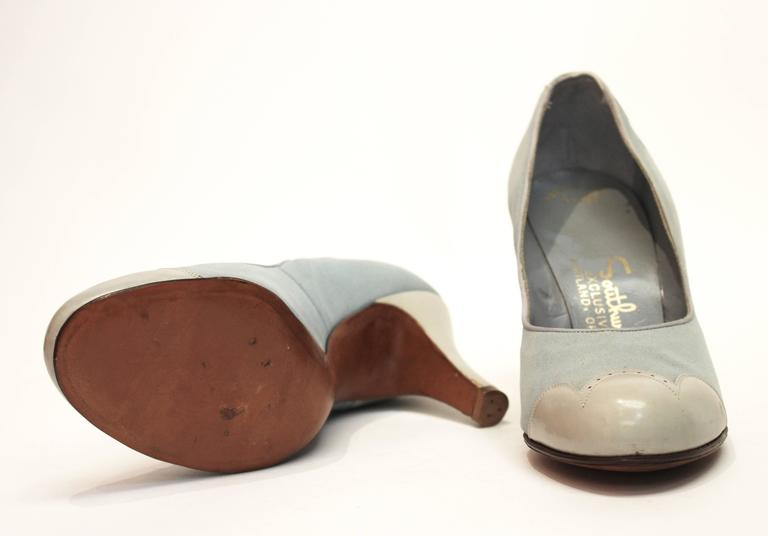 Gray 1950s Blue Suede Spectator Heels  For Sale