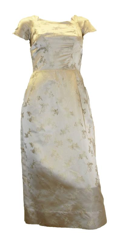 Brown 1950s Silk Two Piece Chinoiserie Evening Set   For Sale