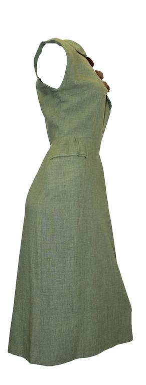 1950s Jack Mann Dress and Matching Hat Both with Mink Fur Accents  In Excellent Condition For Sale In San Francisco, CA