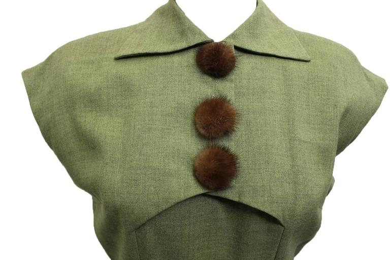 1950s Jack Mann Dress and Matching Hat Both with Mink Fur Accents  For Sale 1