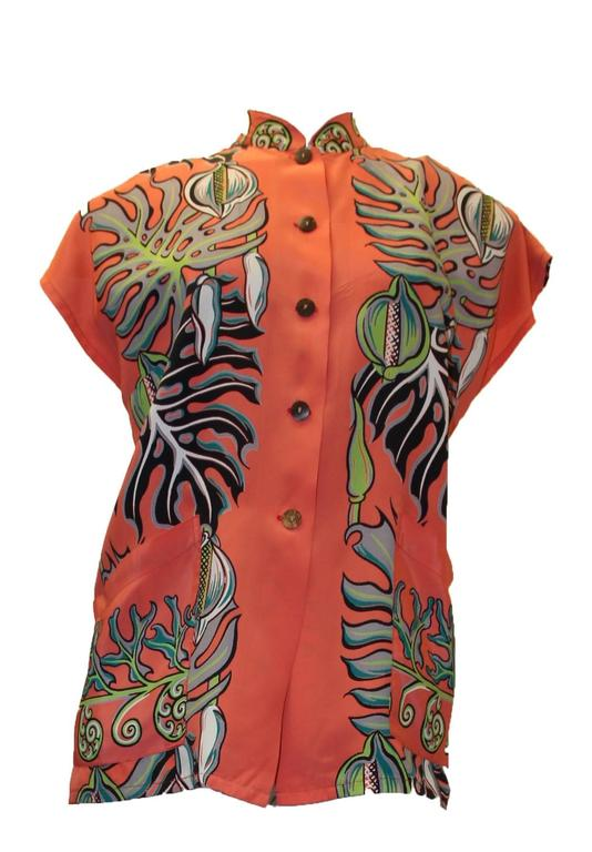 1950s Kamehameha rayon foliage print blouse. Center front button closure with coconut buttons.