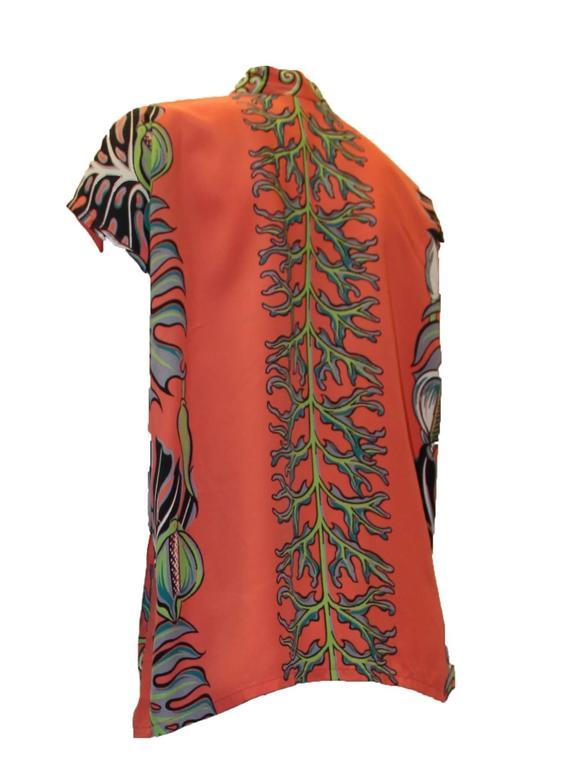 Brown 1950s Kamehameha Hawaiian Rayon Printed Blouse For Sale