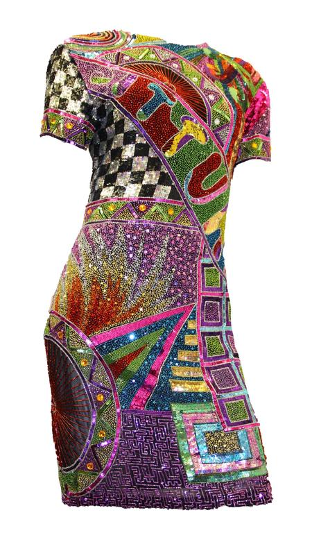 Black 80s Multi Color Beaded and Sequined Naeem Khan Dress  For Sale