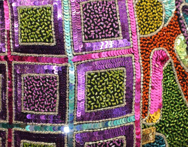 80s Multi Color Beaded and Sequined Naeem Khan Dress  In Excellent Condition For Sale In San Francisco, CA