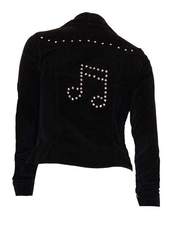 1960s cotton velvet rhinestone studded music note jacket. Snaps up the front, and on cuffs. Faux front flap pockets
