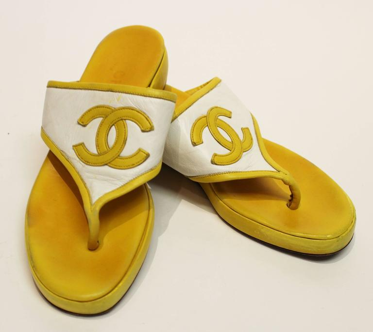 80s Chanel Yellow Leather Sandals  2
