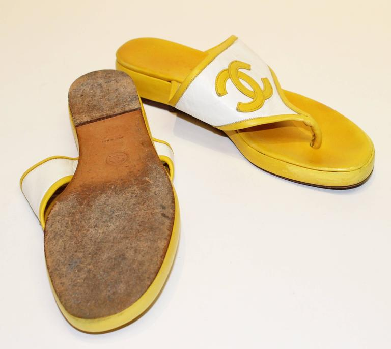 80s Chanel Yellow Leather Sandals  3