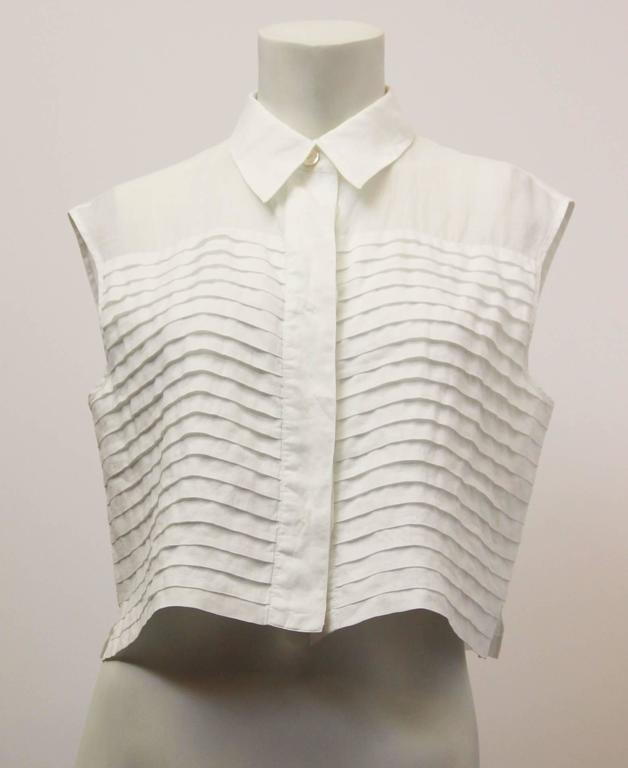 80s Chanel Pleated Front Midi Blouse 2
