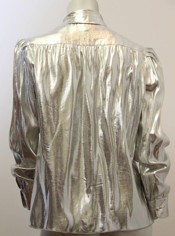 Gray 80s St John Metallic Bow Collar Blouse For Sale