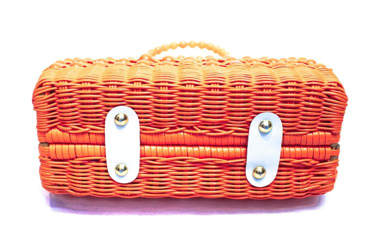 Orange 60's Woven Basket Purse For Sale