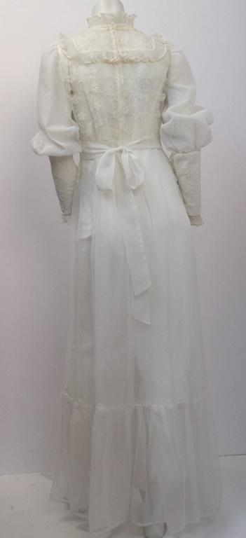 70s Victorian Revival Sheer Lace Maxi Dress  2