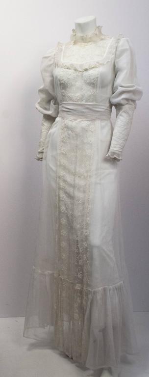 70s Victorian Revival Sheer Lace Maxi Dress  3