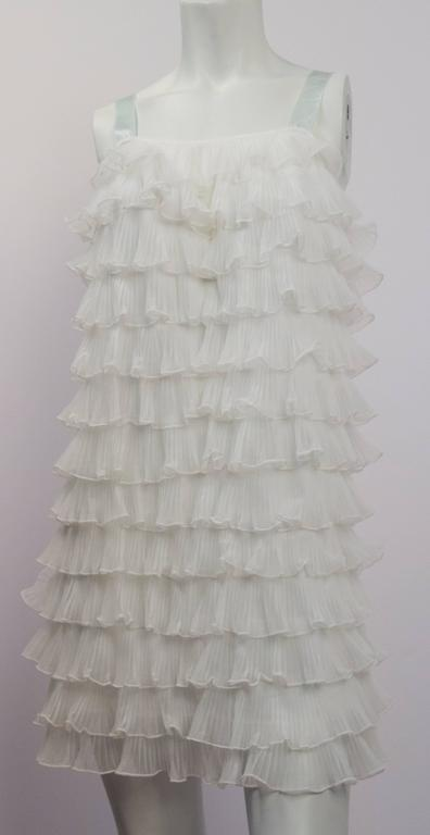 Gray 60s Tiered Ruffle Shift Dress For Sale