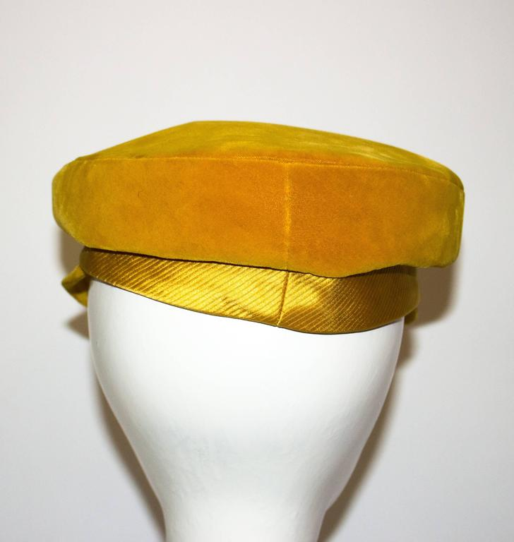 Orange 60s Velvet Mr. John Cap  For Sale