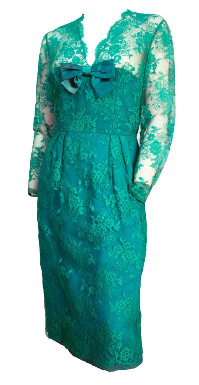 Blue 60s Green Lace Illusion Cocktail Dress  For Sale