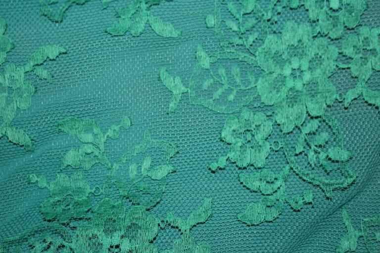 60s Green Lace Illusion Cocktail Dress  In Excellent Condition For Sale In San Francisco, CA