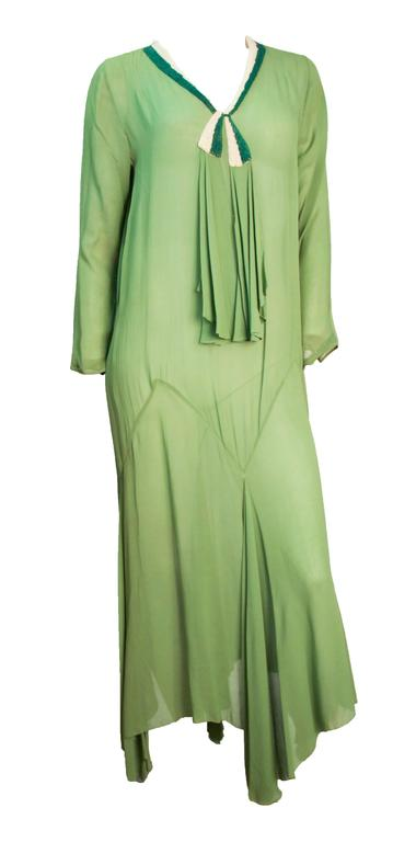 Green 20s Trompe L'oeil Long-sleeved Moss green Chiffon Dress  For Sale
