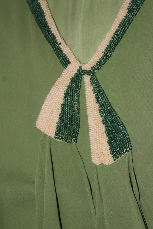 20s Trompe L'oeil Long-sleeved Moss green Chiffon Dress  In Excellent Condition For Sale In San Francisco, CA