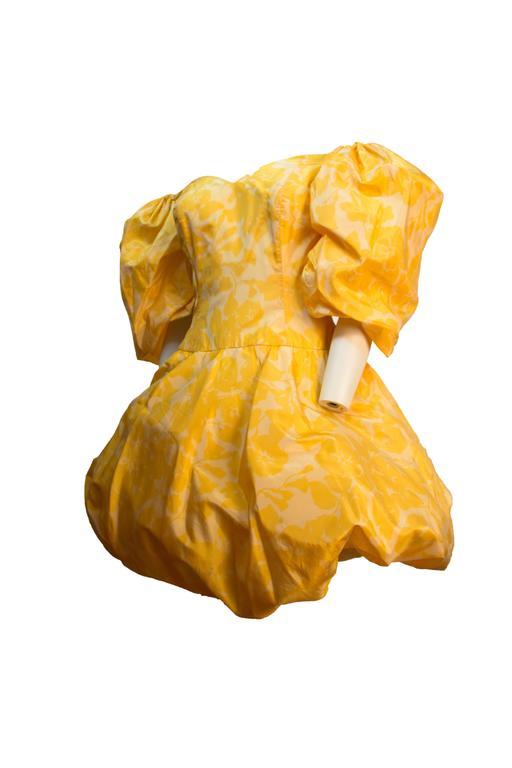 80s Yellow Silk Paulette Buraud Party Dress.