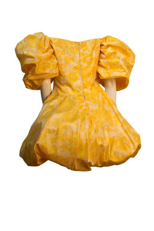 80s Yellow Silk Paulette Buraud Party Dress  In Excellent Condition For Sale In San Francisco, CA