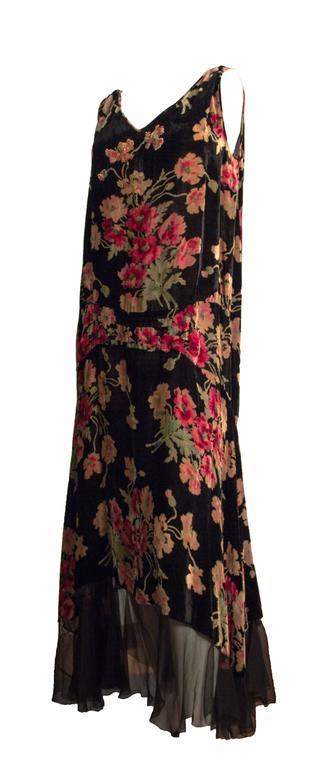 Black 20s Velvet Floral Printed Drop Waist Dress  For Sale