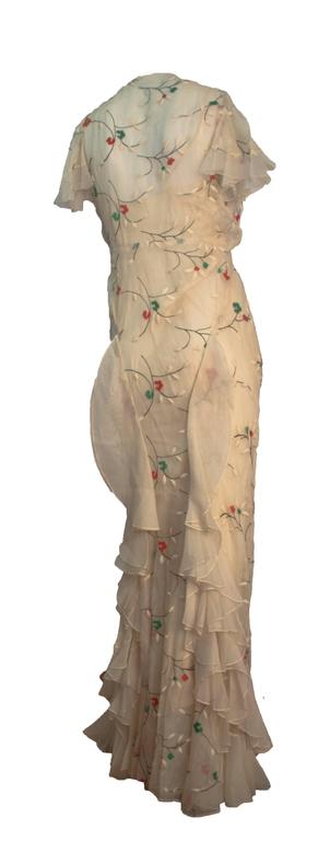 Beige 30s Cream Bias Cut Dress with Floral Embroidery and Slip For Sale