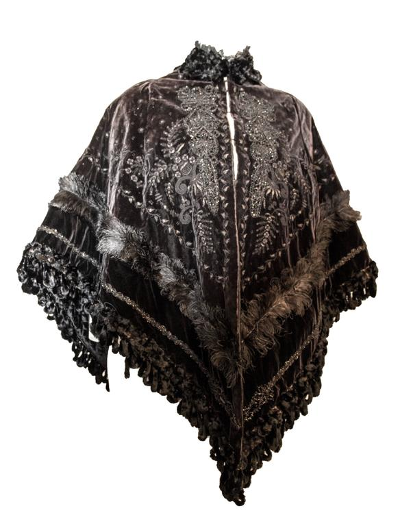 Black Victorian Velvet Cape with Beaded and Feather Trim For Sale