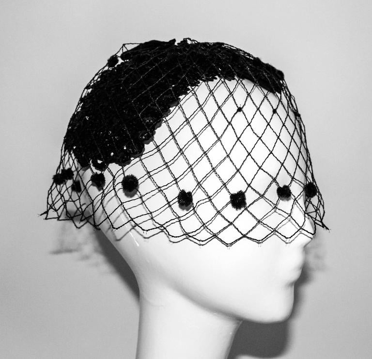 50s Black Sequined Cocktail Hat with Veil  2