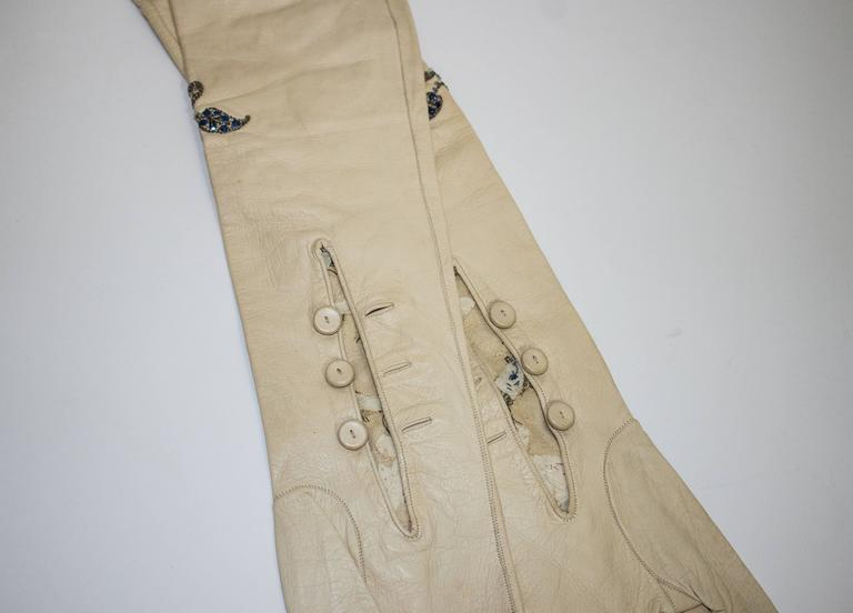 """40s Opera Length Embroidered Kid Gloves with Sequins and Beads. Buttons at inner wrists.   Length - 22""""  Approximately size 7"""