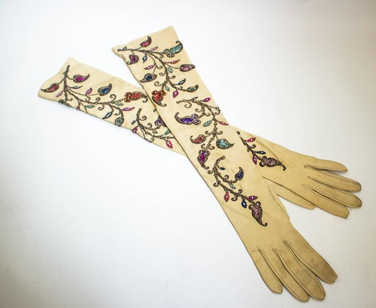 Beige 40s Opera Length Embroidered Kid Gloves with Sequins and Beads  For Sale