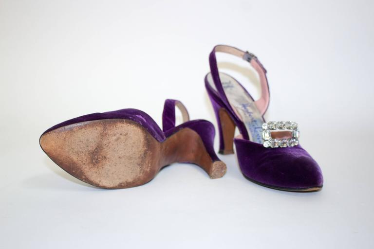 Black Levine 50s Purple Velvet Slingback Heels with Rhinestones  For Sale