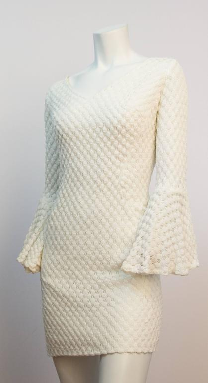 60s White Crochet Mini Dress with Bell Sleeves  2