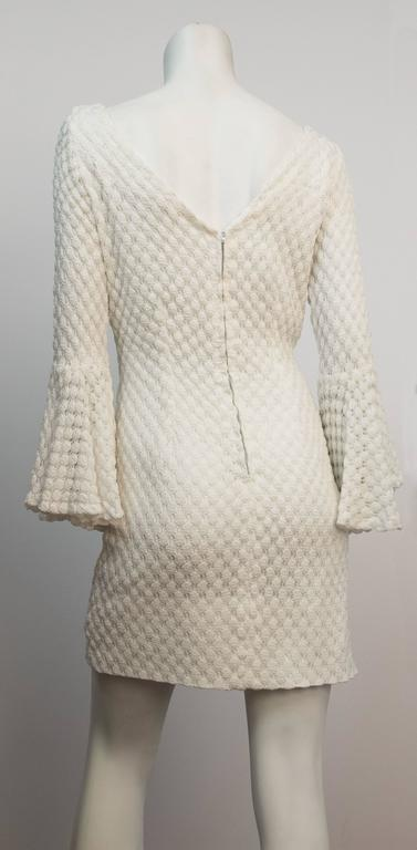 60s White Crochet Mini Dress with Bell Sleeves  3