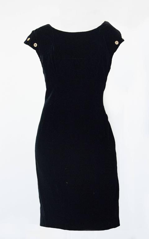 90s Christian Lacroix Black Velvet Sheath Cocktail Dress  In Excellent Condition For Sale In San Francisco, CA