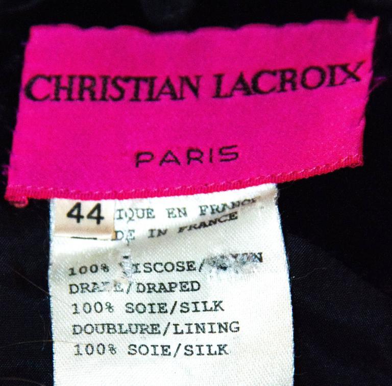 90s Christian Lacroix Black Velvet Sheath Cocktail Dress  4