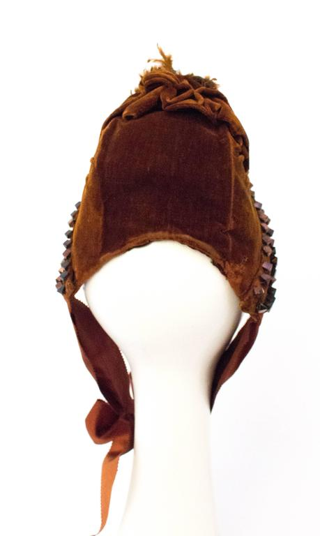 Black Victorian Brown Velvet Bonnet with Feathers.  For Sale