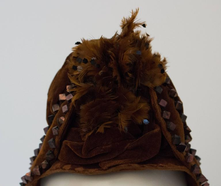Victorian Brown Velvet Bonnet with Feathers.  In Excellent Condition For Sale In San Francisco, CA